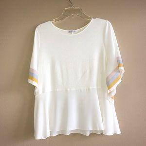White Flowy Zara Blouse with Pastel Stripes